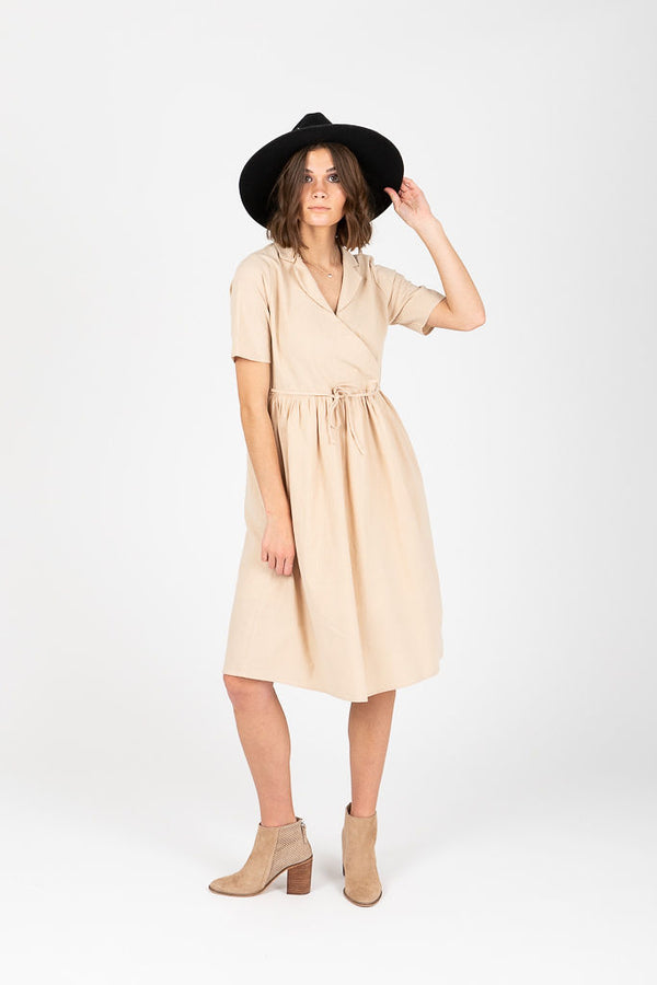 Piper & Scoot: The Raquel Collared Wrap Dress in Natural