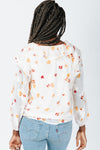 The Francis Floral Detail Blouse In Pink, studio shoot; back view