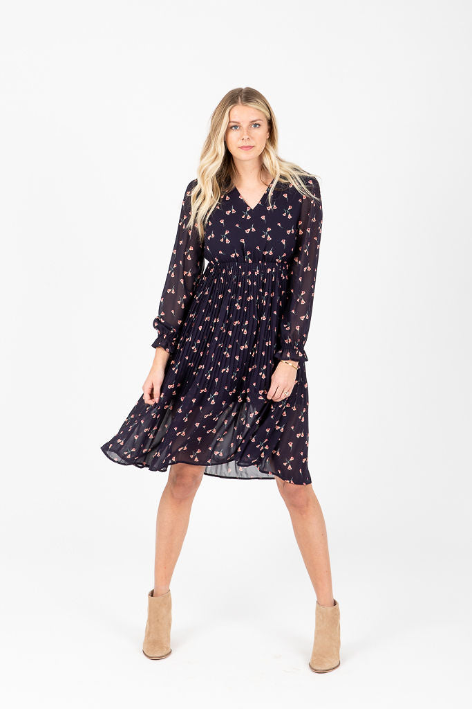 The Campbell Floral Pleated Dress in Navy