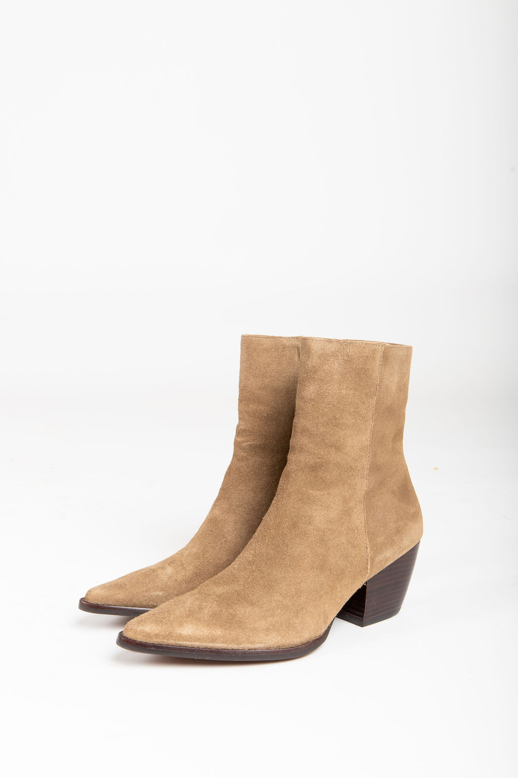 Matisse: Caty Boot in Taupe Suede, studio shoot; side view