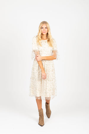 The Illusion Floral Delicate Lace Dress in Ivory, studio shoot; front view