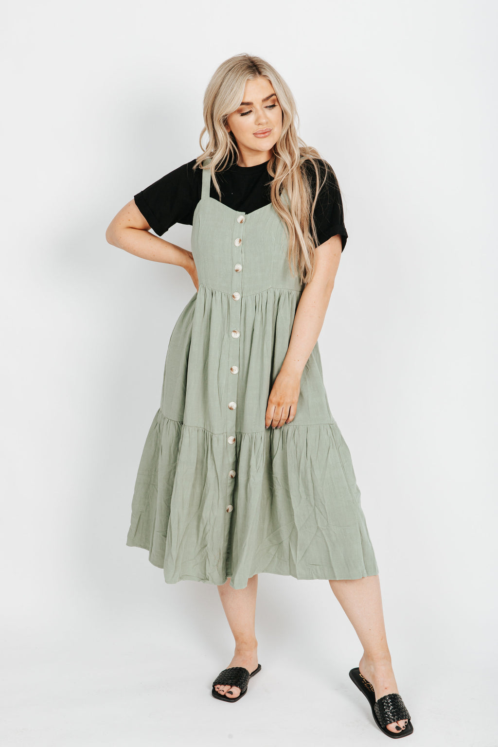 The Amy Overall Dress in Light Olive