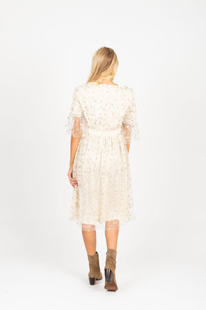 The Illusion Floral Delicate Lace Dress in Ivory, studio shoot; back view