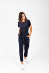 Piper & Scoot: The Bianca Cinch Jumpsuit in Ribbed Navy, studio shoot; front view