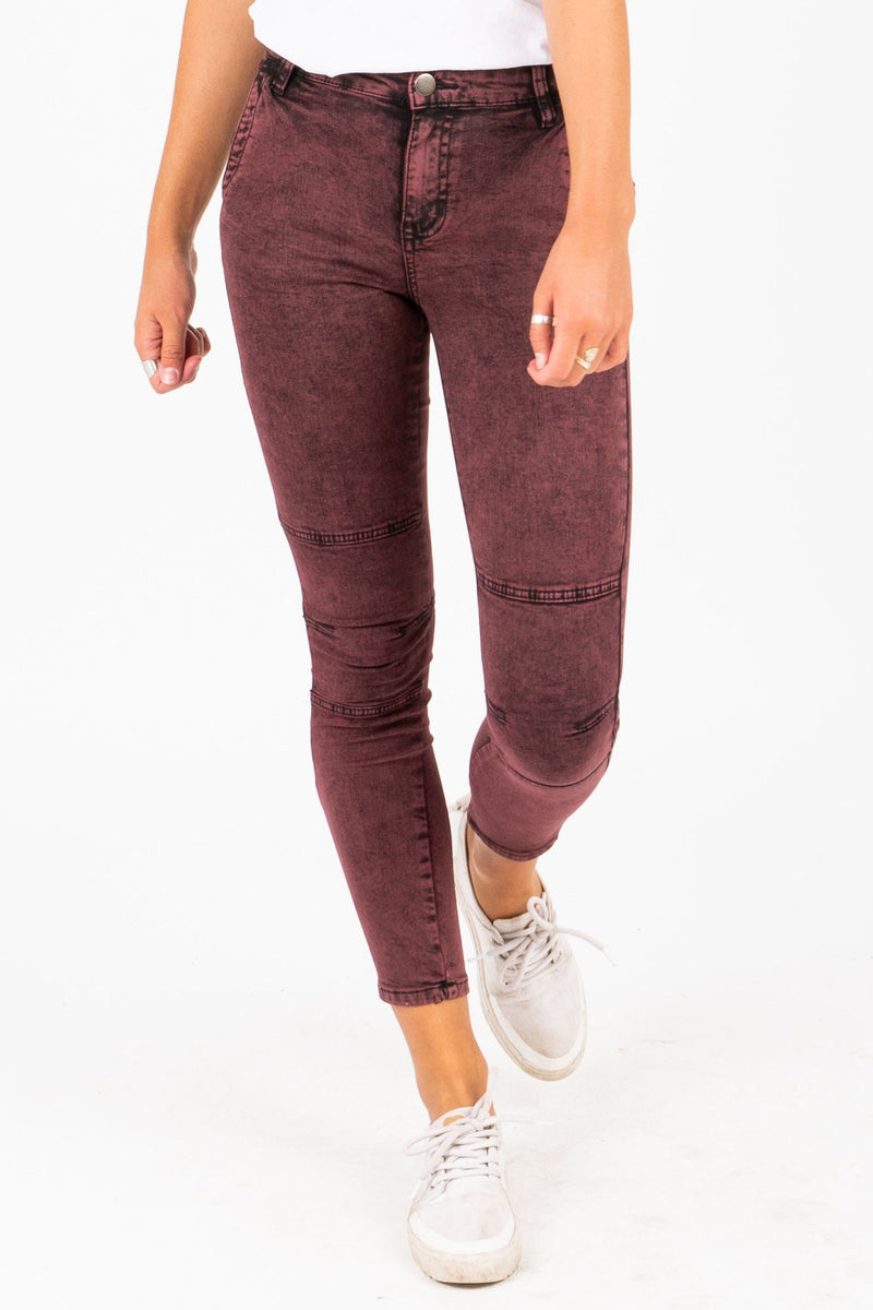 The Sunny Acid Wash Jeans in Burgundy, studio shoot; front view