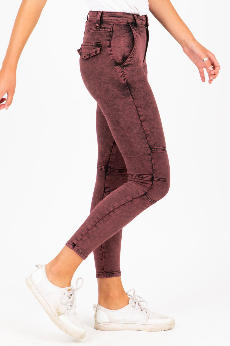 The Sunny Acid Wash Jeans in Burgundy, studio shoot; side view