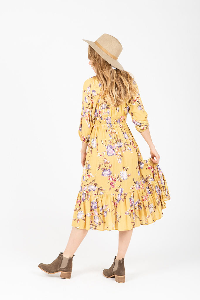 The Amber Floral Ruffle Dress in Mustard