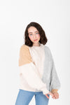 The Jenkins Color Block Sweater in Grey, studio shoot; front view