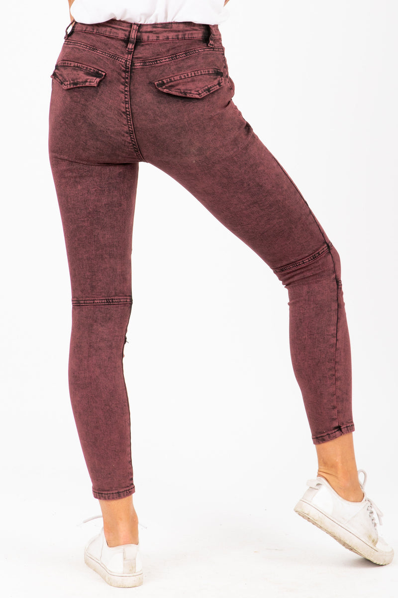 The Sunny Acid Wash Jeans in Burgundy, studio shoot; back view