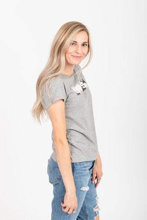 Levi's: Photo Floral Logo Tee Shirt in Smokestack Heather Grey