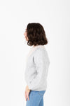 The Jenkins Color Block Sweater in Grey, studio shoot; side view