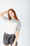 The Miller Peplum Top in Heather Grey
