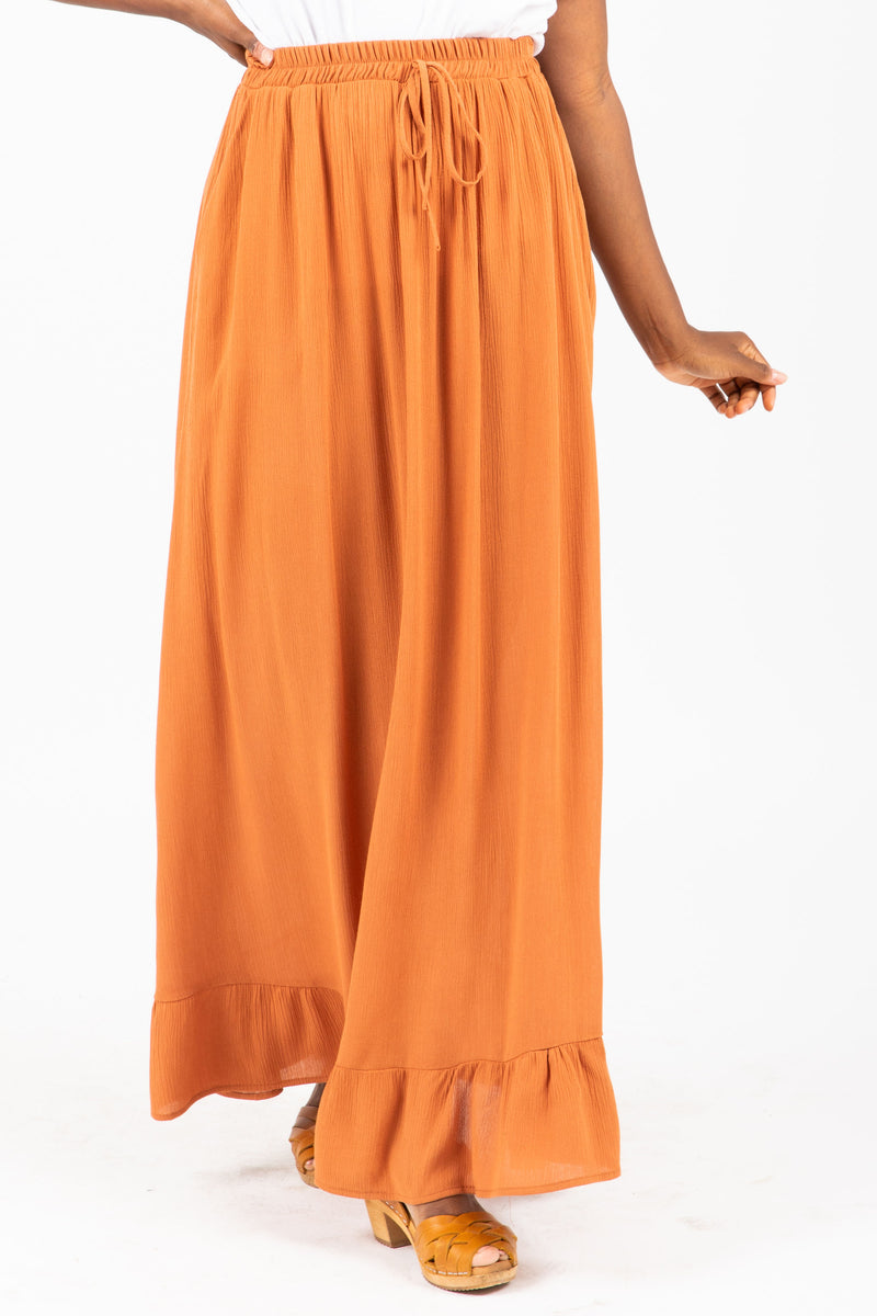 The Roddick Ruffle Maxi Skirt in Camel, studio shoot; front view