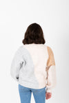 The Jenkins Color Block Sweater in Grey, studio shoot; back view