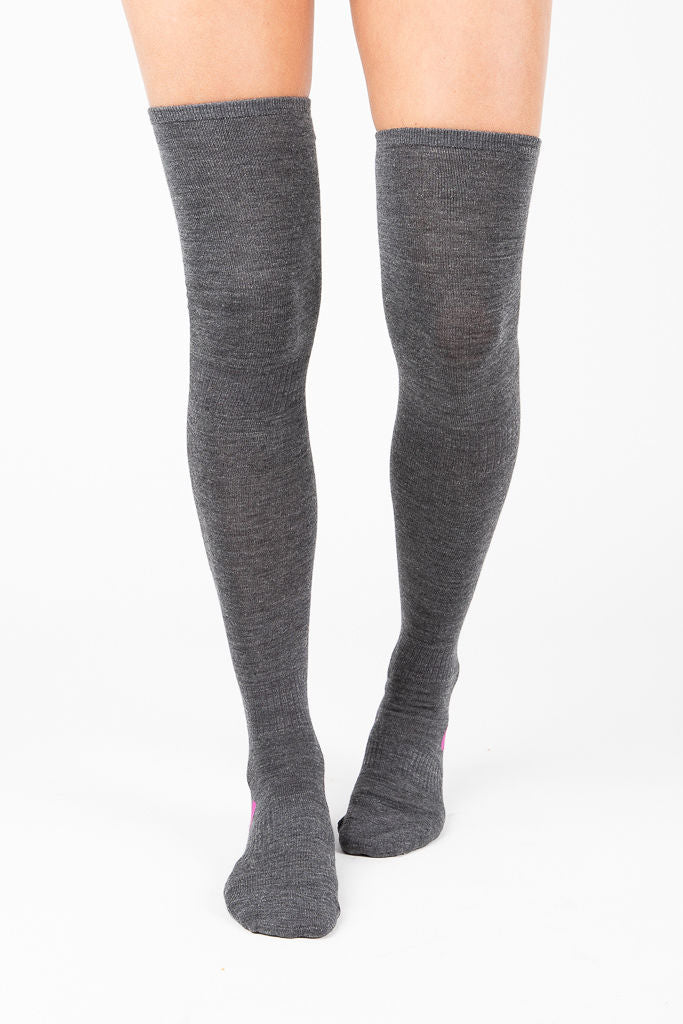 Dot Support Thigh Hi Sock in Heather Grey