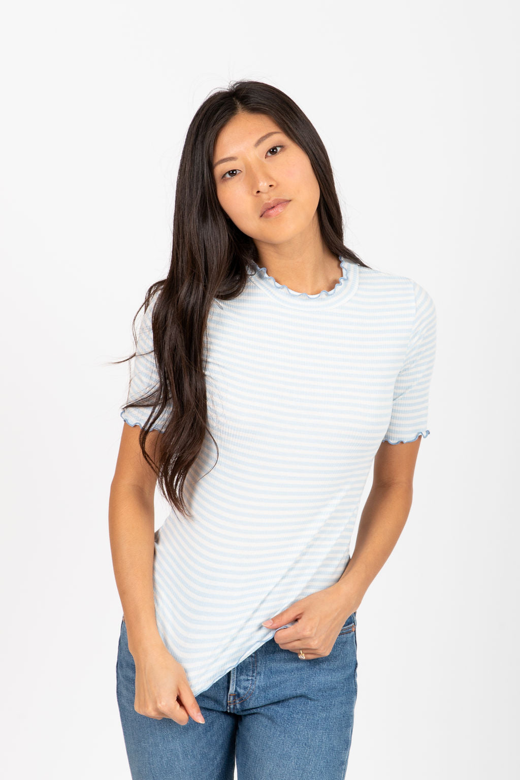 The Arctic Striped Mock Neck Blouse in Sky