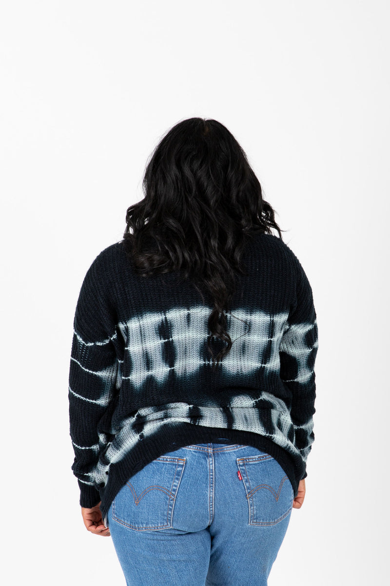 The Terrell Watercolor Cardigan in Navy, studio shoot; back view