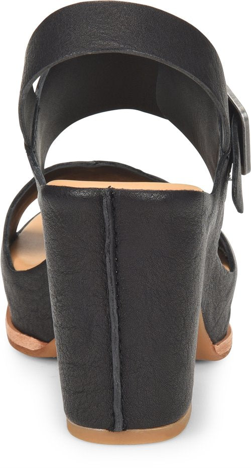 Kork-Ease: San Carlos Sandal in Black, studio shoot; back view
