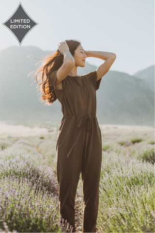 The Daydream Buttom Cropped Jumpsuit in Slate