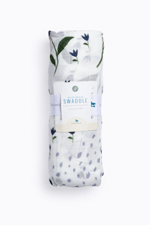 HOME: Little Unicorn Deluxe Muslin Swaddle Single in Blue Windflower