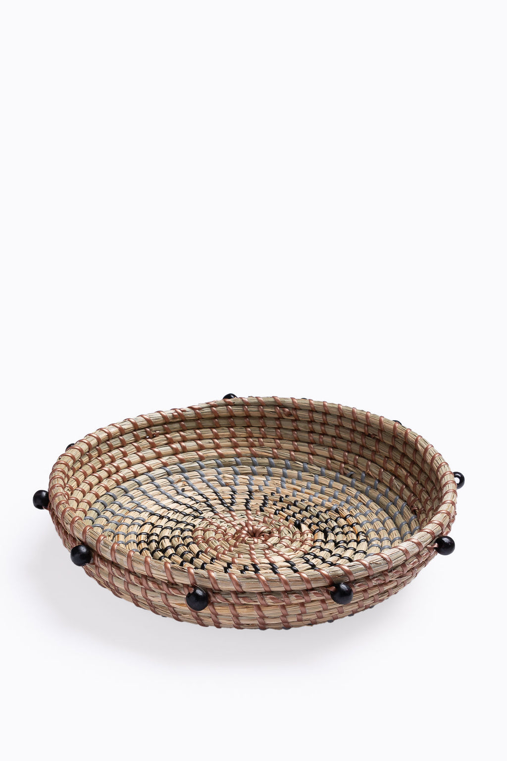 HOME: Natural Woven Seagrass Basket w/ Black Beads