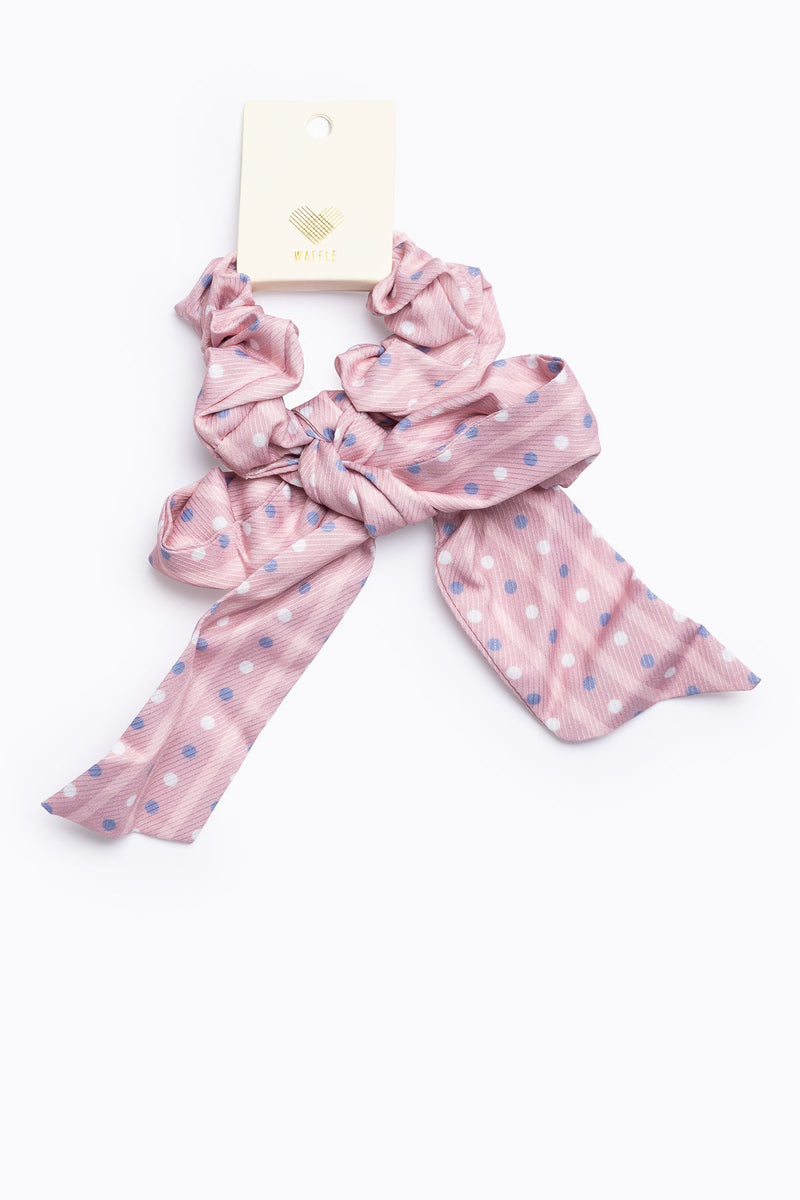Pink Polka Dot Tail Scrunchie