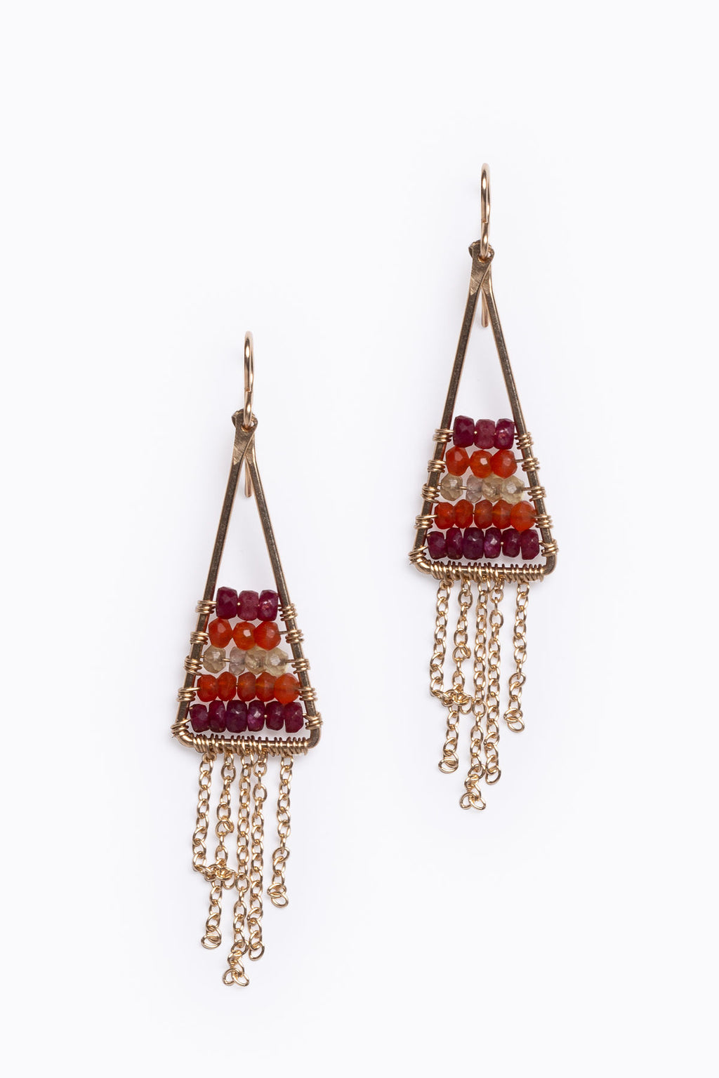 Nashelle: Beaded Fringe Earring in Ruby