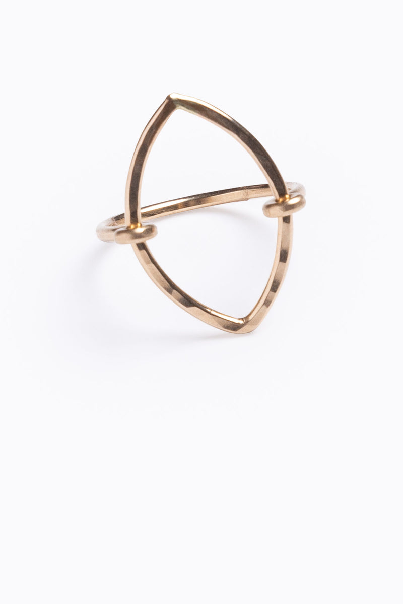 Nashelle: Open Geometric Ring, 14K Gold Marquis