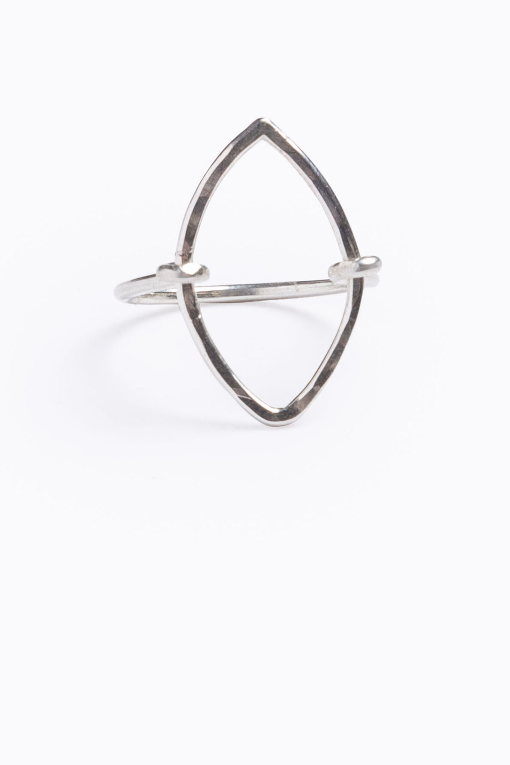Nashelle: Open Geometric Ring, Sterling Silver Marquis