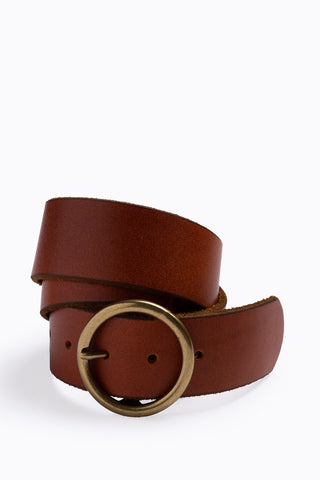 Arc Medium Leather Belt in Black