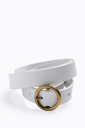 White Slim Leather Belt