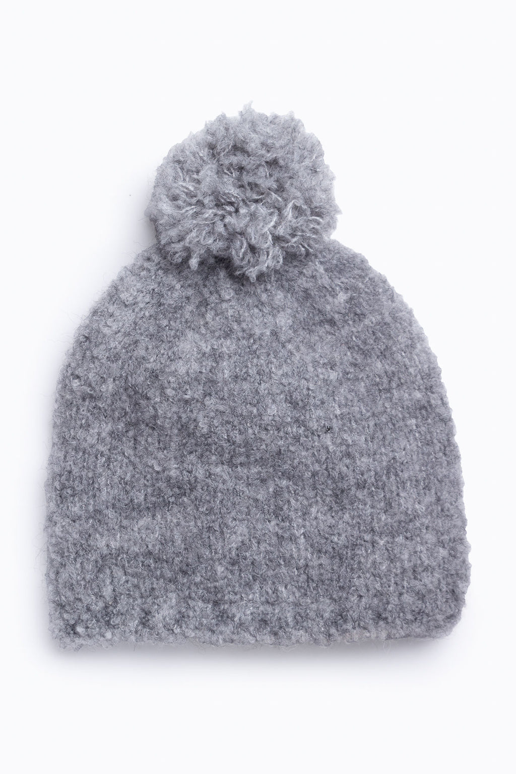 Cozy Pom Beanie in Heather Grey