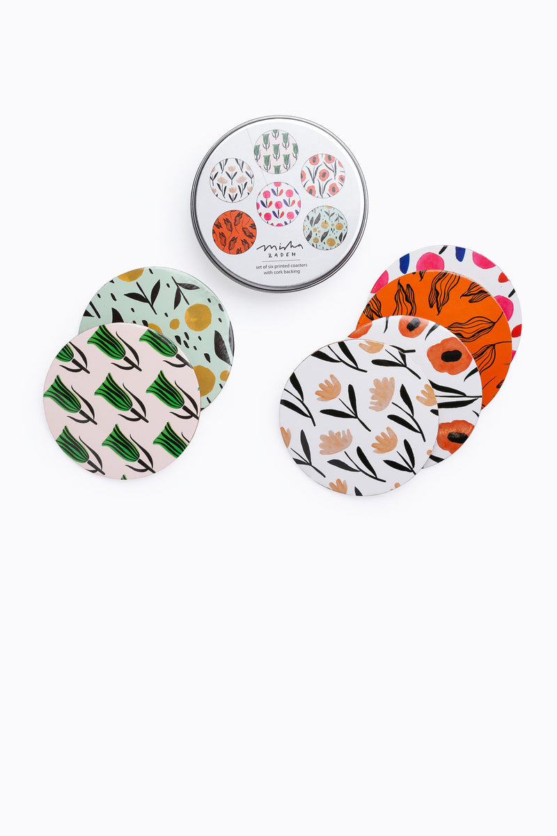 Misha Zadeh: Coasters, 6 Assorted Designs, Tin Box