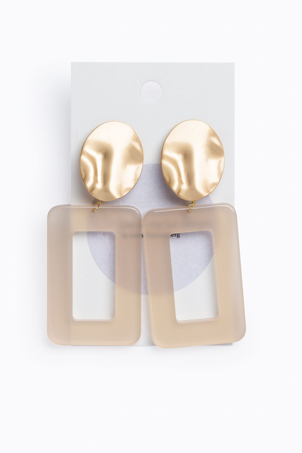 Nude Acrylic Rectangle Earrings