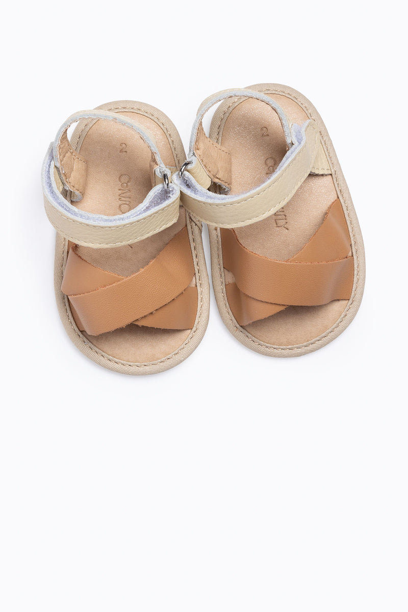 Conciously Baby: Flex-Rubber Sole Baby Leather Sandal in Maui Tan