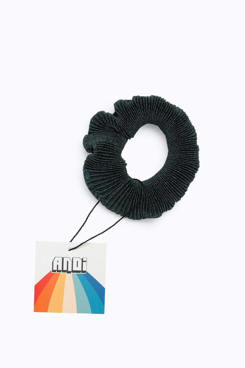 Accordion Pleated Scrunchie in Hunter Green