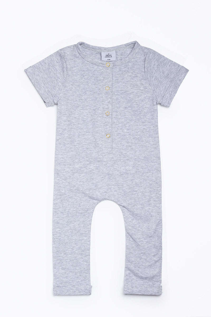 Orcas Lucille: Short Sleeve Henley Romper in Heather Grey