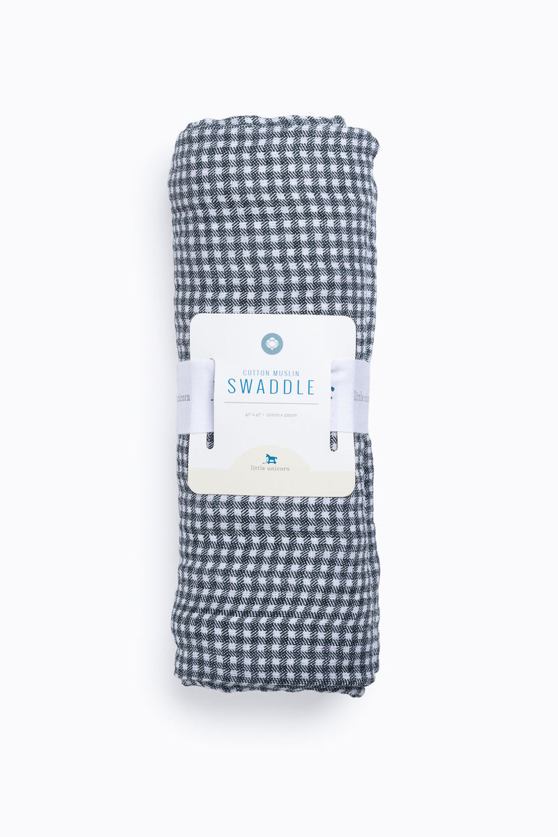 HOME: Little Unicorn Deluxe Muslin Swaddle in Navy Micro Gingham
