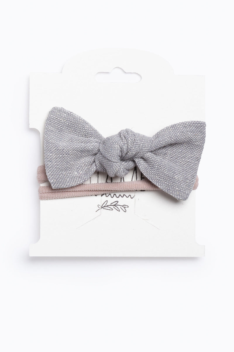 Little Ella Rae: Essie Bow in Gray Linen
