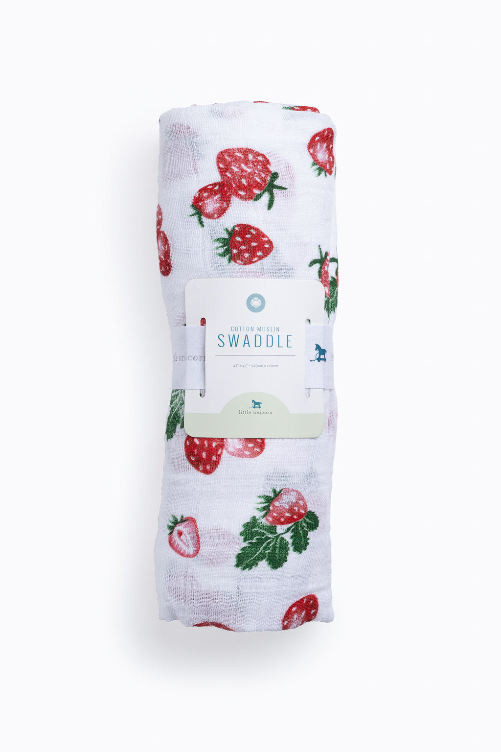HOME: Little Unicorn Cotton Muslin Swaddle Single in Strawberry Patch