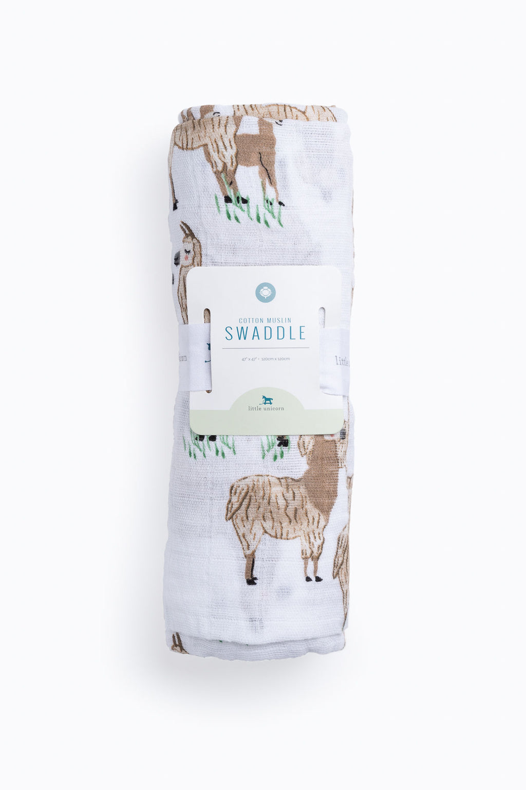 HOME: Little Unicorn Cotton Muslin Swaddle Single in Llama Llama