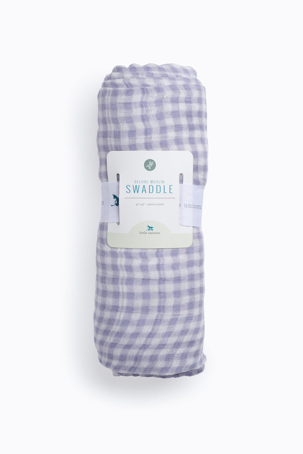 HOME: Little Unicorn Deluxe Muslin Swaddle in Lavender Gingham