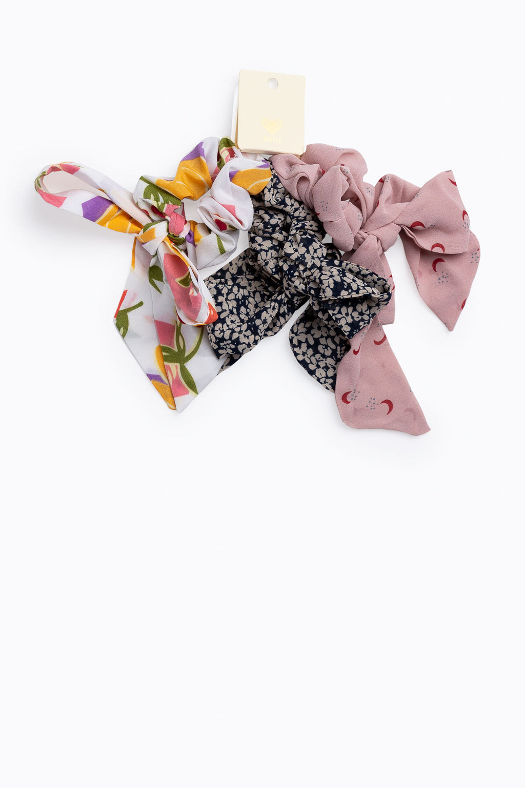 Three Piece Floral Tail Hair Scrunchies