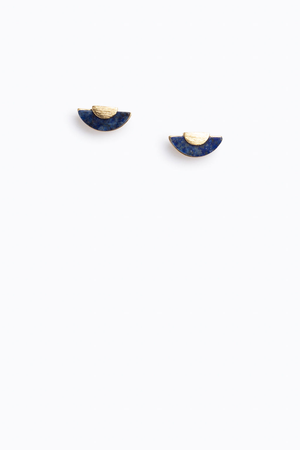 Crescent Stone Studs in Navy