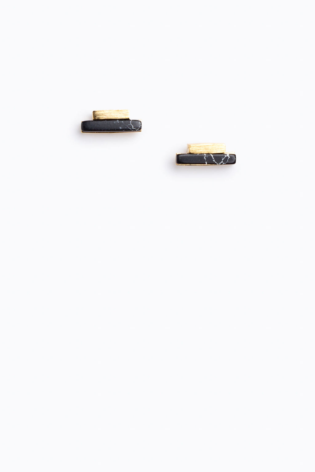 Rectangle Stone Studs in Black