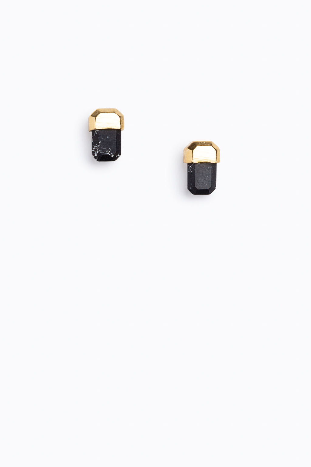 Octagon Stone Studs in Black