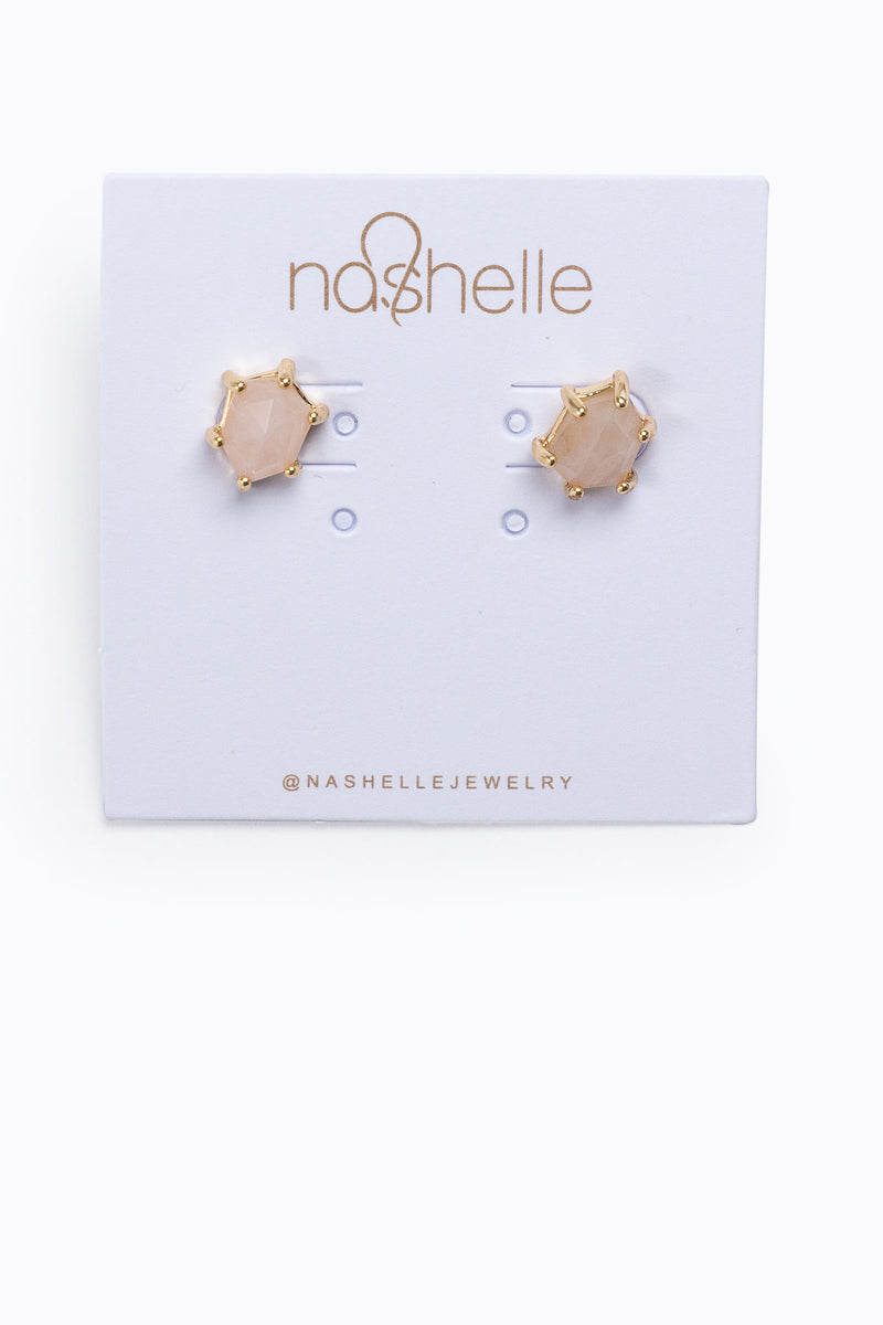 Nashelle: HARLOW Gem Stud Earrings in 14K Gold Plated, Ballet