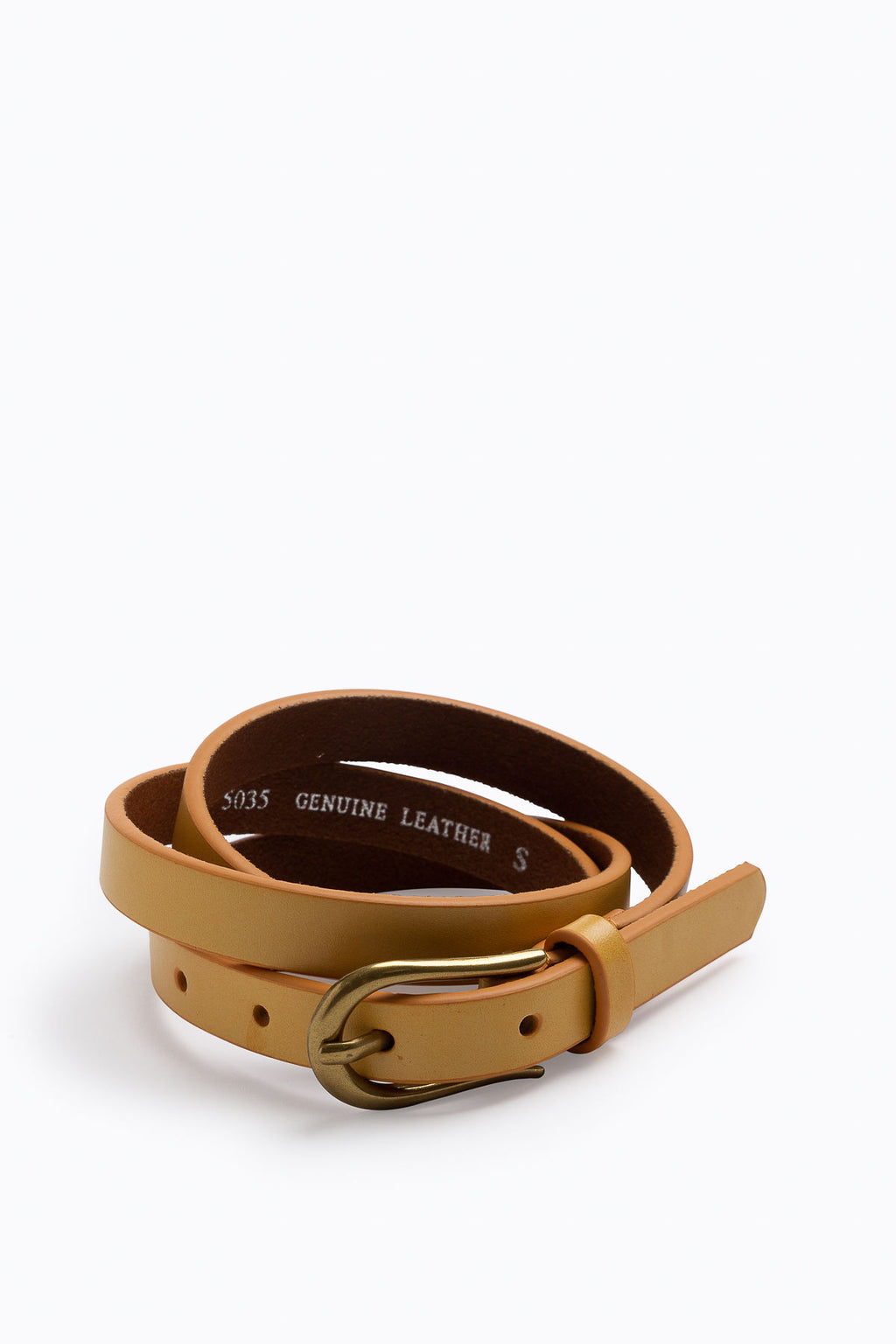 Basic Skinny Belt with Simple Buckle in Camel