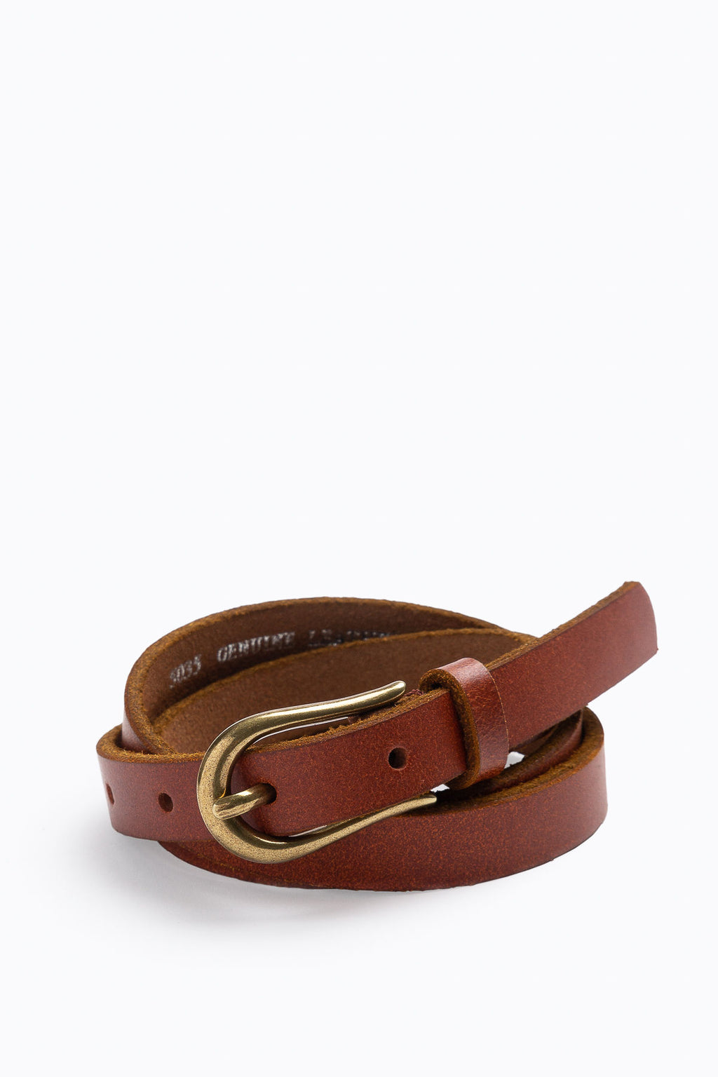 Basic Skinny Belt with Simple Buckle in Tan
