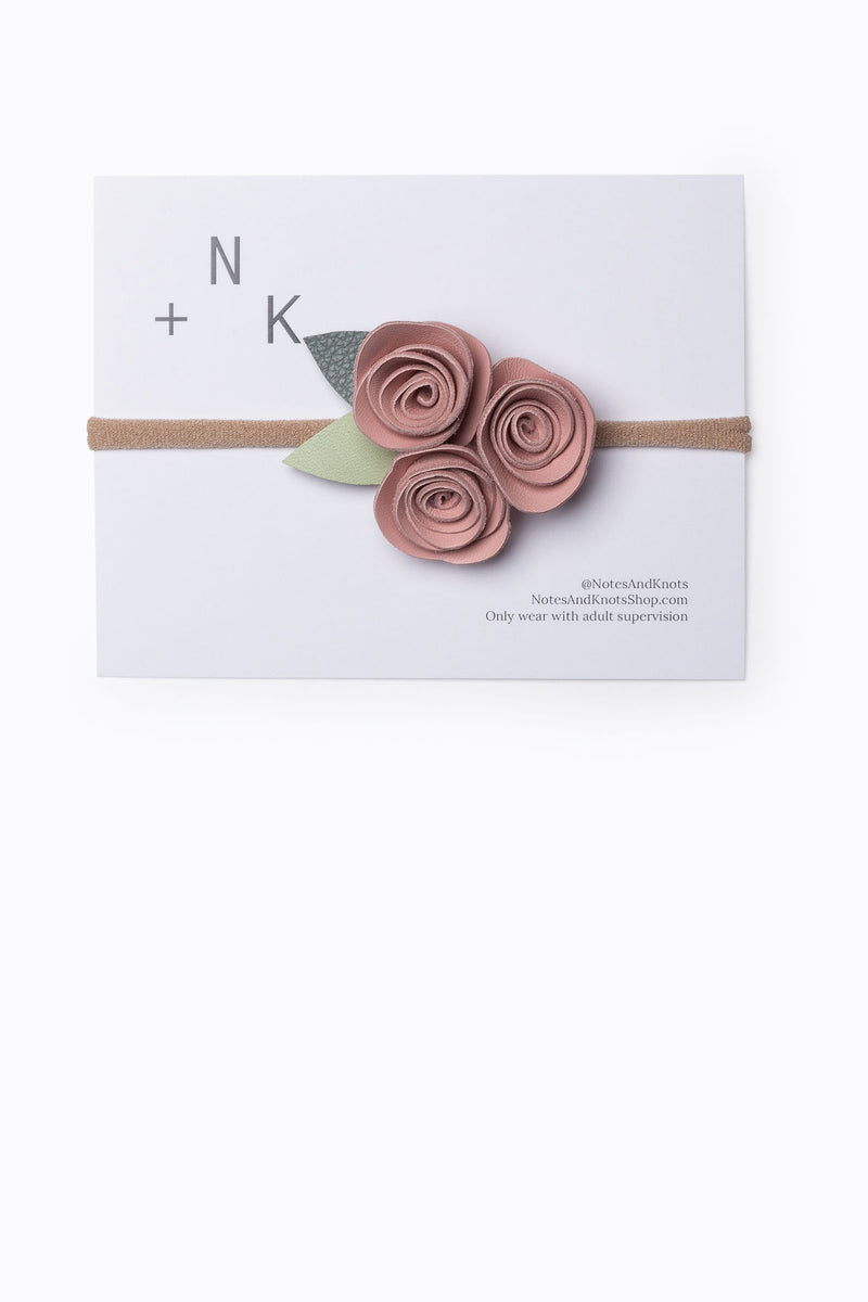 Notes + Knots: Cluster Leather Rose Crown in Pink